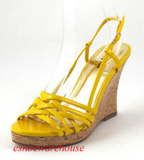 Awesome Sexy Nest Strap Wedge Sandal Pump Yellow Patent