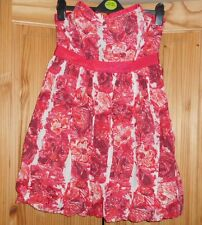 NEW red PINK floral RIVER ISLAND strapless PROM DRESS size 8 10 12 14 16