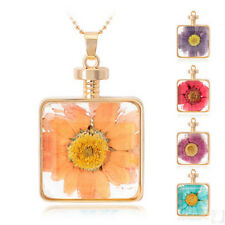 Dried Flowers Square Glass Current Bottle Pendant Bead Necklace For Gift