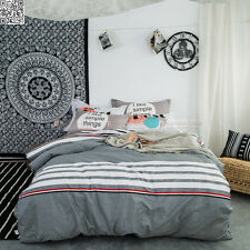 Cotton Quilt/Duvet/Doona Cover King Single Queen Bed Pillowcases Grey Striped