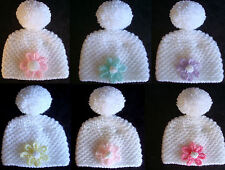 Hand Knitted Cute Baby Bobble PomPom Hat With Colour Flower On Front Newborn 0-3