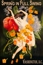 WASHINGTON DC SPRING FULL SWING GIRL DANCING FLOWERS TRAVEL VINTAGE POSTER REPRO