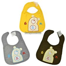 Cartoon Bear Print Toddler Bibs Soft Waterproof Saliva Towel  lunch kids 3 ED01