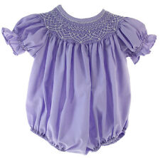 Infant Girls Lavender Smocked Bubble Outfit with Pearls | Krewe