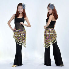 New Belly Dance Costume Crocheted Hip Scarf Belt Sparkle Sequins & Golden Coins