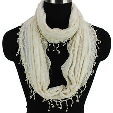 Fashion Women Embroidery Lace 2-Layer Polyester Beige Infinity Circle Loop Scarf