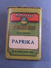 ANTIQUE VINTAGE McMURRAYS COUNTRY CLUB BRAND PAPRIKA SPICE TIN ST PAUL MN