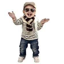 Fashion Baby Boys Stripped Long Sleeve Tops and Denim Pants Two Pieces Set ED02