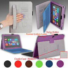 "PU Leather Cover Case w/ Hand Strap For Microsoft Surface RT Surface 2 10.6"" Tab"