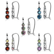 Graduated 3-Stone Gemstone White Gold Plated 925 Sterling Silver Hook Earrings