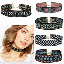 Colorful Boho Collar Chain Choker Necklace Fabric Ribbon Embroidered Jewellery