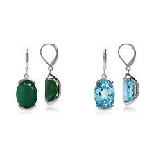 Genuine OV 16*12 MM Gemstone 925 Sterling Silver Leverback Modern Look Earrings