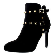Womens Stiletto Biker Buckle Studded Fashion Black High Heels Ankle Boot UK 3-10