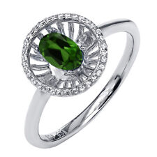 0.93 Ct Oval Green Chrome Diopside 925 Sterling Silver Ring