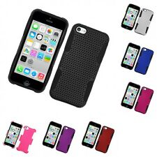 For Apple iPhone 5C Case Hard Soft Dual Layer Slim Thin Rugged Mesh Cover