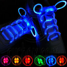 Pair Light-Up LED Waterproof Shoelaces Glow Stick 3 Modes (On, Strobe, Flashing)