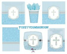 COMMUNION BLUE/Boy BLESSING Tableware & Decorations {Amscan}(Banner/Balloon)