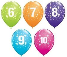 """6 x Qualatex 11"""" Latex Party Balloons - Ages 6,7,8,9,10 Birthday Helium Quality"""