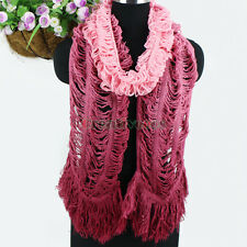 Women's Winter Warm Wool Gradient Hollow Out Tassel Soft Long Scarf Wrap Shawl