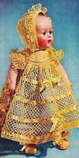 "VINTAGE 15"" Doll Clothes CROCHET PATTERN Christening Dress~Bonnet~Booties SWEET!"