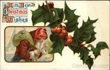 Santa Claus With Best Christmas Wishes Postcard 1c stamp