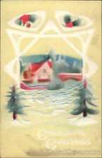 XMAS Christmas Greetings with Snow Scene Airbrushed Divided Back Postcard