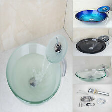 Modern Round Tempered Glass Vessel Bathroom Basin Sink + Waterfall Faucet Taps