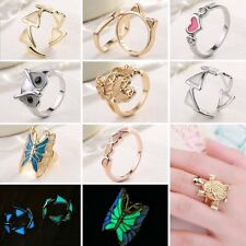 Women Charm Glow In The Dark Turtle Butterfly Heart Ring Luminous Jewelry Gifts