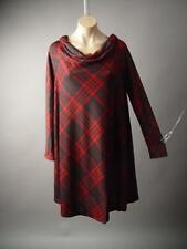 Red Black Tartan Plaid Mod 60s Funnel Neck Trapeze Shift Tent 222 mv Dress S M L