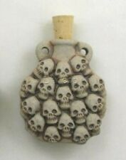 Ceramic Pottery Bottle/Necklace, High Fired Multiple Skulls Design