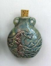 Raku Ceramic Pottery Bottle-Necklace, Ocean Wave, Choice of Lot Size & Price