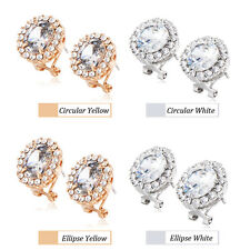 Womens crystal Rhinestone Oval Crystal Stud Earrings Yellow Gold Fiiled Jewelry