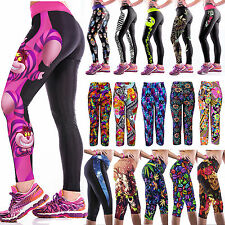 Hot Women YOGA Gym Sports Fitness Stretch Running Tights Capri Cropped 3/4 Pants