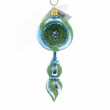 Golden Bell Collection DROP WITH REFLECTOR ORNAMENT Swirl Christmas Nvv061 Blue