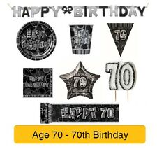 AGE 70 - 70th Birthday BLACK & SILVER GLITZ - Party Balloons,Banners&Decorations