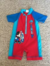 Matalan Baby Boys Mickey Mouse UV All In One Sun Swim Suit Age 9-12 Months VGC
