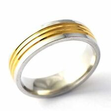Fashion Eternity Mens Stainless Steel Gold Plated Punk Ring Size 8 9 10 11 12