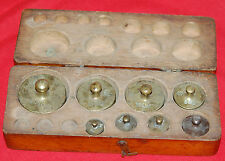 Vintage Antique Apothecary Weight Set in Wooden Box