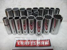"NEW CRAFTSMAN  3/8"" 12 POINT PT DEEP SAE OR METRIC SOCKET SET ~ YOUR CHOICE"