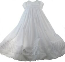 Girls White Smocked Christening Gown with Pearls & Bonnet Set | Sarah Louise