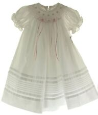 Willbeth Infant Girls White Smocked Bishop Dress Pink Smocking & Ribbons