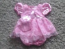 BABY GIRLS 3 PIECE OUTFIT PINK SATIN FRILLY DRESS, PANTS & HAT SET 0-3 3-6 & 6-9