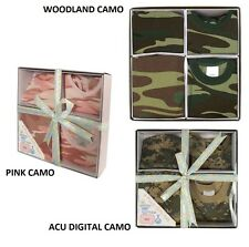 Infant 4-Piece Boxed Gift Set Camo Onesie Baby Clothes USMC USAF Army Navy Child