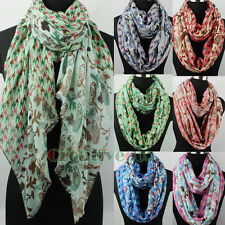Women's Owls&Houndstooth Print Animal Long Shawl/Infinity Scarf Ladies Scarves