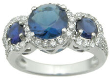 925 Sterling Silver 3.30Ct Halo Blue Sapphire & Clear CZ Engagement Ring