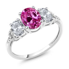 10K White Gold 2.70 Ct Oval Pink Created Sapphire White Topaz 3-Stone Ring