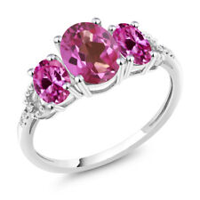 10K White Gold 2.35 Ct Pink Mystic Topaz Pink Created Sapphire 3-Stone Ring