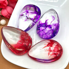Lady Colorize Crystal Petal Waterdrop Pendant Polished Stone Drop Necklace Gift