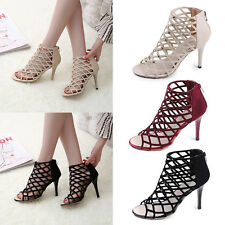 Women's Ladies Peep Toe Ankle Caged Stiletto High Heels Sandals Party Shoes Size