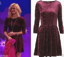 Topshop Burgundy Purple Velvet Glitter Spot Flippy Skater Dress  Sizes 6 8  & 14